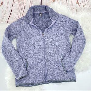 Eddie Bauer Zip Front Knit Jacket purple and black